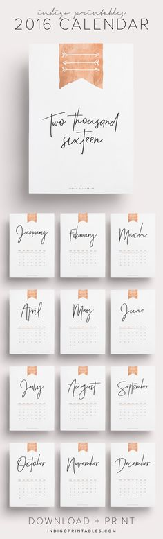 Rose Gold 2016 Calendar, 13 Pages | Created by @IndigoPrintables Available in both Monday and Sunday Start