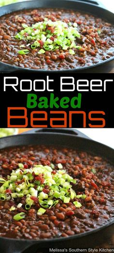 These beefy Root Beer Baked Beans are summer picnic ready.They're flled with ground beef and kickin' seasonings all smothered in a root beer barbecue sauce. Baked Beans Crock Pot, Canned Baked Beans, Best Baked Beans, Slow Cooker Baked Beans, Baked Beans With Bacon, Baked Bean Recipes, Side Dishes For Bbq, Best Side Dishes, Side Dish Recipes