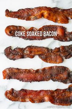 Coke Soaked Bacon - I discovered magical things happen to bacon strips when they are marinated in Coke. Bacon Jerky, Pork Bacon, Jerky Recipes, Meat Recipes, Cooking Recipes, Couscous, Breakfast Dishes, Breakfast Recipes, Candied Bacon Recipe