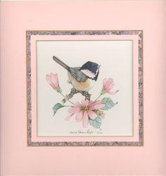 Chickadee with Daises 9 x 9 watercolor van CShoresInc op Etsy