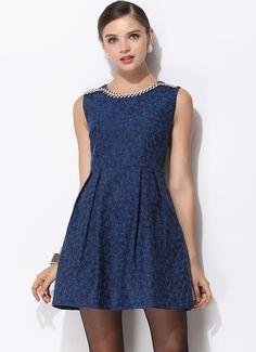 Blue Sleeveless Embroidered Rhinestone Floral Dress