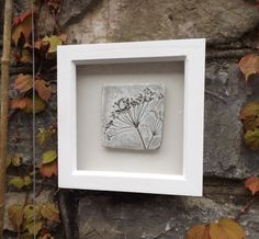 Framed original wall art, clay impression of Queen Anne's lace, natural clay & white in a white wooden frame. by Margesgallery on Etsy