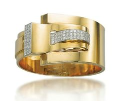 A Retro Gold and Diamond Bangle, By Cartier    The hinged pink gold tapered band with a detachable scroll clip terminal enhanced by pavé-set diamond panels, 1940s, inner diameter 5.5 cm, with French assay marks for platinum and gold  Clip signed Cartier Paris, no. 6311