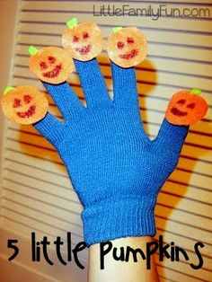 Halloween Countdown #2 - Music        Using some felt (I love felt), I stitched 5 little pumpkins onto the fingers of a glove (which I got...