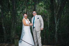 Fun wedding portrait after the first look at Mission Inn Resort Marina near Orlando, FL