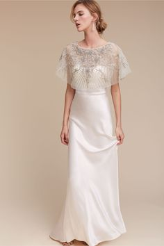 A BHLDN exclusive -Lotus Threads. Pair it over an understated silhouette to let the details shine. Wedding Dress Topper, Wedding Dresses, Wedding Bride, Lace Wedding, Engagement Photo Dress, Anthropologie Wedding, Beaded Cape, Bridal Separates, Bhldn