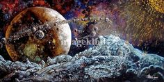 """""""A Million Moons"""" by Bob Bello, Albuquerque, NM // A Jovian class planet gathers asteroids from all over its dying extrasolar system. More at www.facebook.com/timeship // Imagekind.com -- Buy stunning, museum-quality fine art prints, framed prints, and canvas prints directly from independent working artists and photographers."""