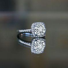 0.50 ct. Radiant cushion square center halo settings ring diamond veneer® simulated diamond zirconite shank set in sterling silver. Imitation diamond engagement ring & Imitation diamond wedding ring 635r203