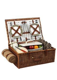Picnic Basket | retrofit vintage wicker basket from estate sale - i love the attachable blanket on this basket