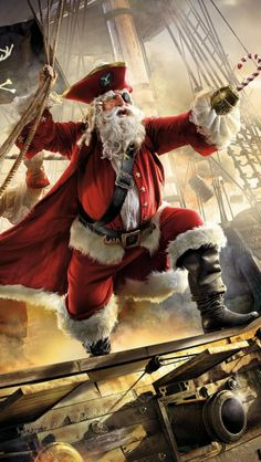 A pirate Santa Pirate Art, Pirate Life, Father Christmas, Christmas Art, Christmas Ships, Xmas, Beautiful Christmas, Santa Claus Photos, The Pirates
