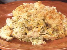 Chicken Divan recipe from Paula Deen via Food Network - Modify (no cream of mushroom and substitute pork rinds for bread crumb)