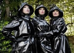 """In our special rubber toture chamber you will confess each detail to us ! Black Raincoat, Raincoat Jacket, Latex Costumes, Latex Cosplay, Vinyl Raincoat, Pvc Raincoat, Heavy Rubber, Black Rubber, Imper Pvc"