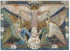 Ann Macbeth (British painter) 1875 - 1948 Angels Garlanding the Infant Christ, s. watercolour heightened with gouache and gold paint x cm.) signed l. Ann Angel, Angel Art, Glasgow Girls, Art Nouveau, Angeles, Holy Mary, Angels Among Us, Pre Raphaelite, Arts And Crafts Movement