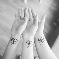 Matching Clover Wrist Tattoos for Sisters