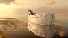 animals cats tiger water ocean sea reflection sky clouds boats vehicle rope mood surreal manipulation cg digital scenic wierd psychedelic