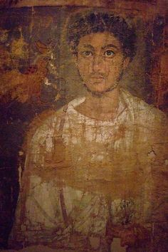Fragmentary shroud with bearded young man, Egypt, 120-150 CE. Tempera on linen. Metropolitan Museum of Art.