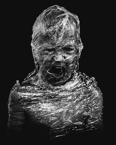 Plastic black and white photography portrait Black And White Photography Portraits, A Level Photography, Conceptual Photography, Film Photography, Gothic Aesthetic, Plastic Art, A Level Art, Photo Competition, Illustrations And Posters
