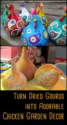 Do you know someone who would love to make these adorable chicken decor from gourds?