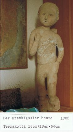 small schoolboy out of terra cotta ; one unicat - School Boy, Terra Cotta, Some Words, Art Pieces, The Creator, Teddy Bear, Sculpture, Things To Sell, Animals