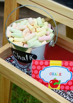 """Chalk"" marshmallows at this back to school party #backtoschool #party"