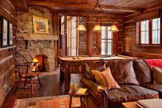 Camera de relaxare intr-o cabana din lemn masiv