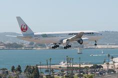 Japan Airlines Boeing 777-246/ER landing at San Diego