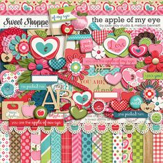 The Apple of My Eye by Jady Day Studio & Melissa Bennett! Take a look at this beautiful kit! The colors are fabulous! I love everything about this collab! Digital Scrapbook Paper, Digital Papers, Scrapbook Patterns, Scrapbooks, Clip Art, Kids Rugs, Make It Yourself, Studio, Sweet