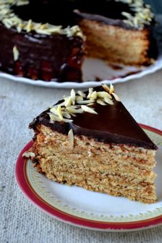 A chocolatey German Schichttorte otherwise known as an Eggless German Tree Cake No Egg Desserts, Eggless Desserts, Eggless Recipes, Eggless Baking, Baking Recipes, Delicious Desserts, Baking Ideas, Cake Recipes At Home