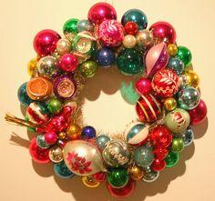 Vintage Ornament Wreath.  Love vintage Christmas!