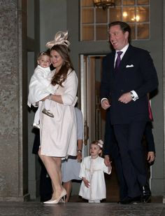 Princess Madeleine, Chris ONeill, and Princess Leonore attend a service and reception for the presentation of the banns before the wedding of Prince Carl Philip and Sofia Hellqvist at the Royal Palace of Stockholm, Sweden, 17 May 2015.