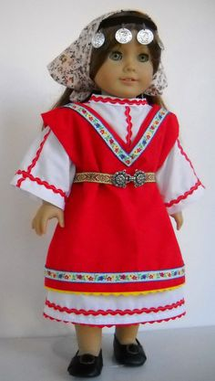 """Fits 18"""" American Girl doll Bulgaria Bulgarian dress clothes G (COSTUME ONLY)"""