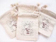 Snowman Christmas Gift Bag, Muslin Bag, Holiday Bag, Party Favor Bag, Gift Card Holder, Candy Bag, Jewelry Bag. $4.75, via Etsy.