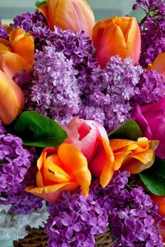 Lilacs and tulips