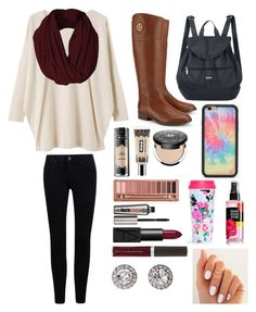 """#Jordan'sBackToSchool"" by jordan-beasley ❤ liked on Polyvore featuring EAST, Tory Burch, Baggallini, Kat Von D, Urban Decay, Benefit, NARS Cosmetics, Becca, Wildflower and OroClone"