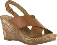 Bella Vita Women's Lea-Italy Slingback Wedge Sandal Whiskey Leather Size 9.5 N