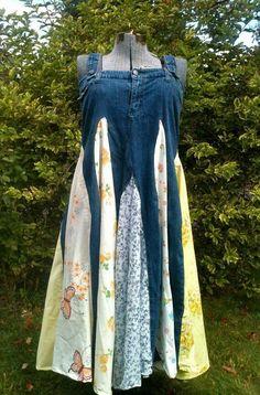 Twirly jean dress - up-cycled - xl varrás ruha átalakítás, á Jeans Dress, Dress Up, Artisanats Denim, Denim Ideas, Denim Crafts, Jeans Material, Recycled Denim, Old Jeans, Diy Clothing