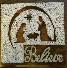 Nativity string art