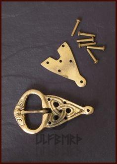 Viking Belt Buckle With Rivets, Brass