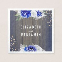 Navy Floral Rustic Wedding Paper Napkin - kitchen gifts diy ideas decor special unique individual customized