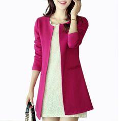 Ucuz Yeni Moda Kadınlar Uzun Blazer Ceketler Katı Rahat Artı Boyutu Ceket Blazer Feminino Jaqueta Feminina Kadın Blazers ve Ceketler, Satın Kalite blazer doğrudan Çin Tedarikçilerden:              &nbs