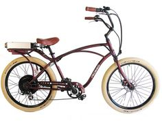 Vintage 1950's style Comfort Cruiser assisted by 500-watt electric motor and 36-volt lithium battery.