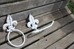 Cast Iron Fleur de lis Hand Towel Holder and by 2CountryChics, $28.99