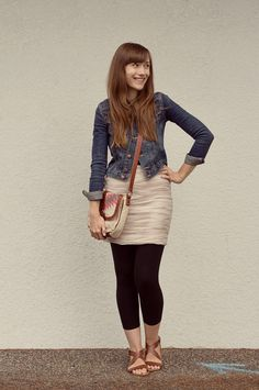 Girl and Closet: jean jacket, cute dress or skirt, cross-body bag, leggings and strappy flat sandals.