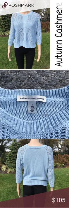 Baby blue autumn cashmere sweater Autumn cashmere crew neck sweater  New without tags  No rips tears or stains ( very small yellow mark on back that won't show up in picture ) I think it's flower pollen, it'll come out  in the wash it's not a stain   Buy 2 items get 3rd half off , offering bundle discounts & accepting all reasonable offers #38 Autumn Cashmere Sweaters Crew & Scoop Necks