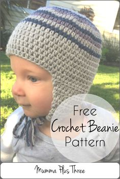This free crochet beanie pattern is quick and easy, it uses half double crochet and can be made with or without the ear flaps.