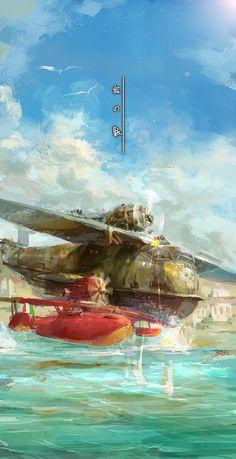The Art of Animation// Studio Ghibli// Porco Rosso// Hayao Miyazaki, Fanart Manga, Anime Manga, Studio Ghibli Movies, Natsume Yuujinchou, Bd Comics, Film Studio, Howls Moving Castle, My Neighbor Totoro