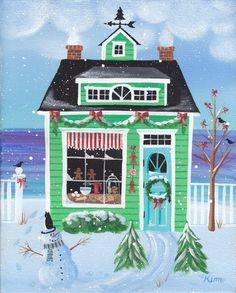 Etsy の Christmas Cookies Cottage Folk Art Print by KimsCottageArt