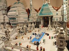 Painstaking work: The Garrison of Moriah draws inspiration from Star Wars. It takes up a room measuring 540 square feet and is inhabited by hundreds of tiny Lego people