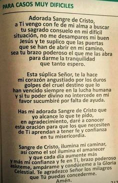 Catholic Prayers In Spanish, God Prayer, Prayer Board, God Loves You, Gods Love, Religion, Love You, Faith, Reading