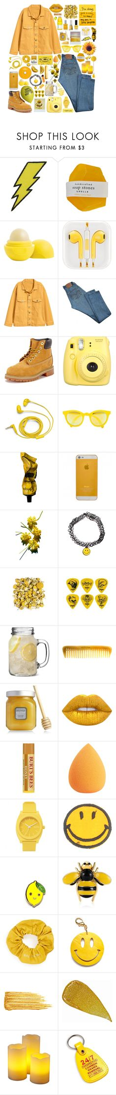 """""""You Are My Sunshine"""" by michaela-penkala ❤ liked on Polyvore featuring Eos, Levi's, Timberland, Fujifilm, FOSSIL, Sunpocket, Aesop, Clayton, Hermès and Laura Mercier"""